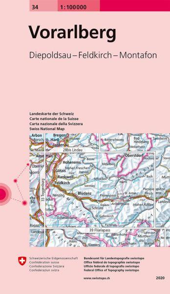 34 Vorarlberg topographische Karte Schweiz 1:100.000