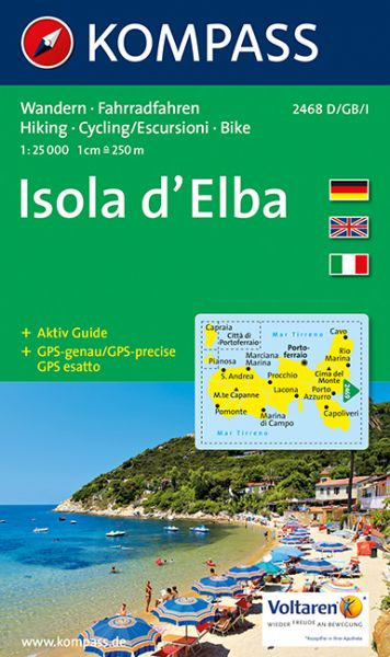 Elba Karte.Kompass Karte 2468 Elba Isola D Elba 1 25 000 Wandern Rad Fahren