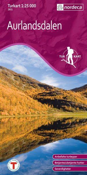 Aurlandsdalen Wanderkarte 1:25.000 mit Osterbo – Norwegen, Turkart 2651 von Nordeca