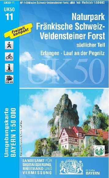 UK50-11 Naturpark Fränkische Schweiz Süd Rad- und Wanderkarte 1:50.000 - Umgebungskarte Bayern