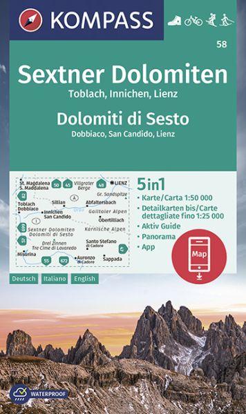 Kompass Karte 58, Sextner Dolomiten 1:50.000, Wandern, Rad fahren