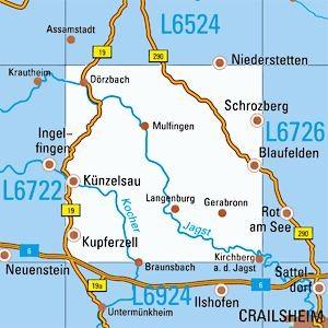 L6724 Künzelsau topographische Karte 1:50.000 Baden-Württemberg, TK50