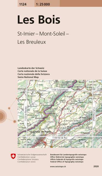1124 Les Bois topographische Wanderkarte Schweiz 1:25.000