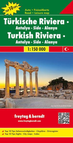 Türkische Riviera - Antalya, Side, Alanya, Straßenkarte 1:150.000, Freytag und Berndt