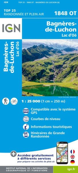 IGN 1848 OT Bagnères-de-Luchon / Lac d'Oô, Frankreich Wanderkarte 1:25.000