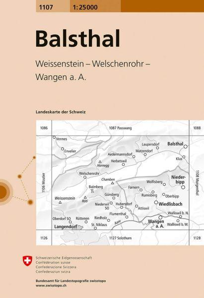 1107 Balsthal topographische Wanderkarte Schweiz 1:25.000