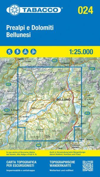 Tabacco 024 Prealpi e Dolomiti Bellunesi Wanderkarte 1:25.000