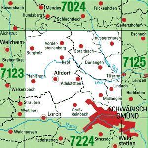 7124 SCHWÄBISCH GMÜND-NORD topographische Karte 1:25.000 Baden-Württemberg, TK25