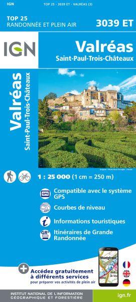 IGN 3039 ET Valreas, Grignan, Pierrelatte, Frankreich Wanderkarte 1:25.000