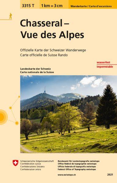 3315 T Chasseral - Vue des Alpes Wanderkarte 1:33.333 wetterfest - Swisstopo