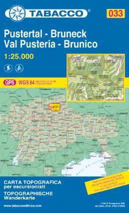 Tabacco 033 Pustertal / Val Pusteria - Bruneck / Brunico Wanderkarte 1:25.000
