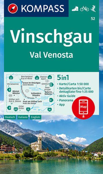 Kompass Karte 52, Vinschgau 1:50.000, Wandern, Rad fahren