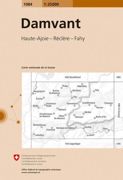 1084 Damvant topographische Wanderkarte Schweiz 1:25.000