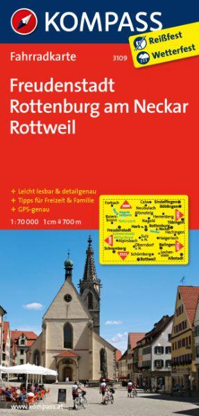 Kompass Fahrradkarte Blatt 3109 Freudenstadt, Rottenburg/N.-Rottweil 1:70.000