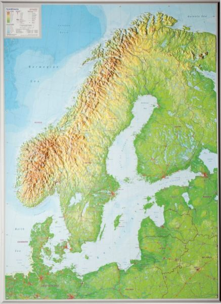 Skandinavien Relief, groß, ohne Rahmen – 77 cm x 57 cm