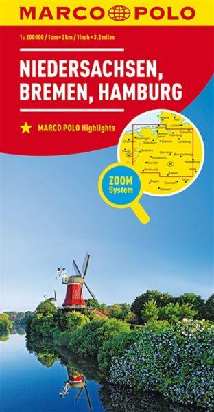 Niedersachsen, Bremen, Hamburg Straßenkarte 1:200.000, Marco Polo Bl. 03