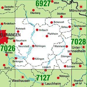 7027 ELLWANGEN (JAGST) OST topographische Karte 1:25.000 Baden-Württemberg, TK25