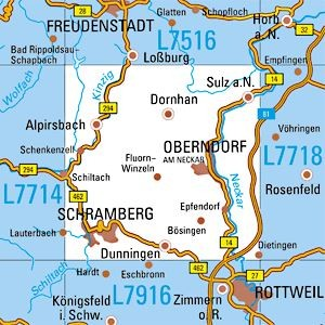 L7716 Schramberg topographische Karte 1:50.000 Baden-Württemberg, TK50