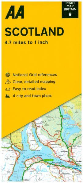 AA Straßenkarte Blatt 9, Schottland 1:300.000