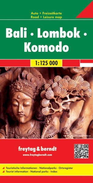 Bali, Lombok, Komodo, Straßenkarte 1:125.000, Freytag und Berndt