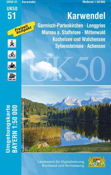 UK50-51 Karwendel Rad- und Wanderkarte 1:50.000 - Umgebungskarte Bayern