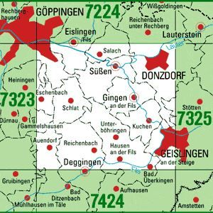 7324 GEISLINGEN A.D.STEIGE WEST topographische Karte 1:25.000 Baden-Württemberg, TK25
