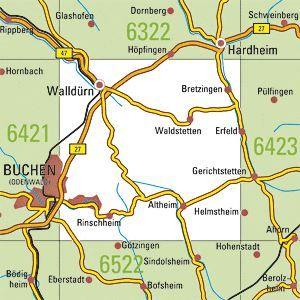 6422 WALLDÜRN topographische Karte 1:25.000 Baden-Württemberg, TK25