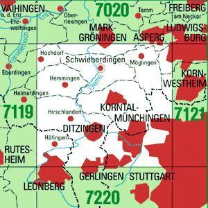 7120 STUTTGART-NORDWEST topographische Karte 1:25.000 Baden-Württemberg, TK25
