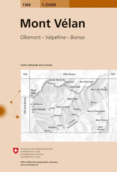 1366 Mont Velan topographische Wanderkarte Schweiz 1:25.000