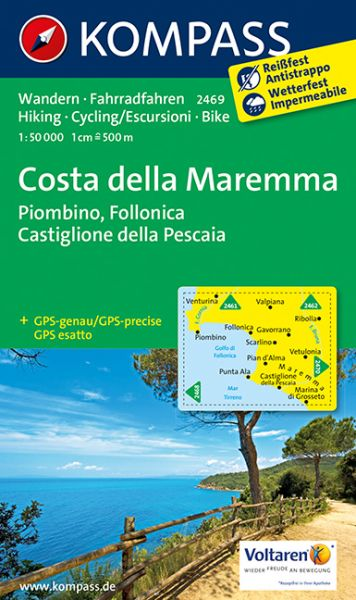 Kompass Karte 2469, Costa della Maremma 1:50.000, Wandern, Rad