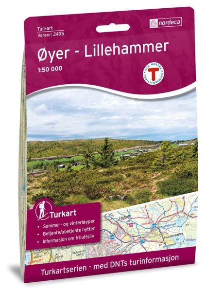 Oyer / Øyer - Lillehammer Wanderkarte 1:50.000 – Norwegen, Turkart 2495 von Nordeca