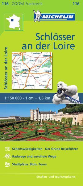 Michelin 116 Schlösser an der Loire; touristische Hinweise, Rad- und autofreie Wege 1:150.000