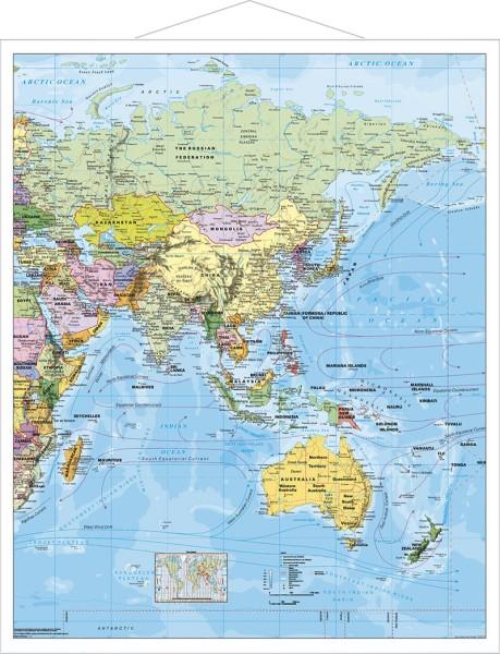 Asien politisch groß mit Metallleisten, Poster, Stiefel Verlag 97 x 119 cm