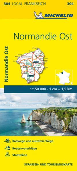 Michelin local 304 Normandie Ost Straßenkarte 1:150.000