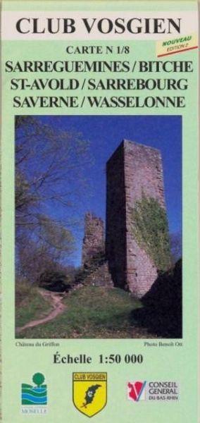 Elsass / Vogesen Wanderkarte: Club Vosgien Blatt 1/8 Sarreguemines 1:50.000