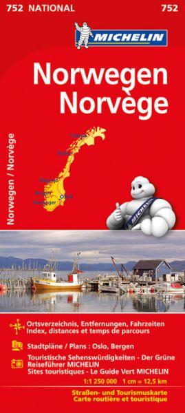Michelin 752 Norwegen; Straßenkarte; Ortsverzeichnis, Stadtpläne: Oslo, Bergen