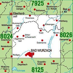 8025 BAD WURZACH topographische Karte 1:25.000 Baden-Württemberg, TK25