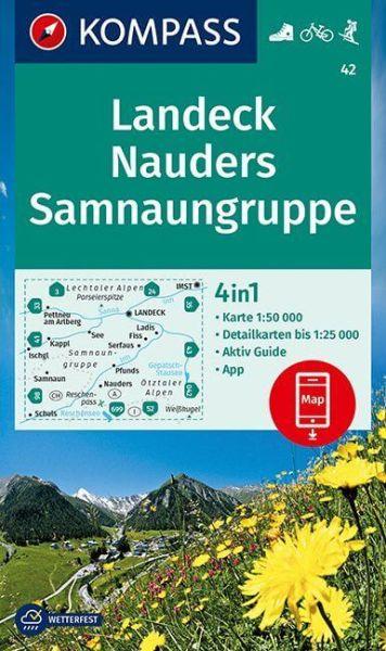 Kompass Karte 42, Landeck, Nauders 1:50.000, Wandern, Rad fahren