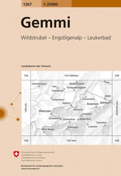 1267 Gemmi topographische Karte Schweiz 1:25.000