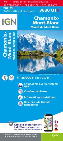 IGN 3630 OTR Chamonix, Massif du Mont Blanc, wasser und reißfeste Wanderkarte 1:25.000