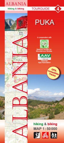 4 Puka: Albanien Wander- und Radwanderkarte 1:50.000