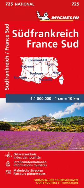 Michelin 725 Südfrankreich Straßenkarte 1:1.000.000