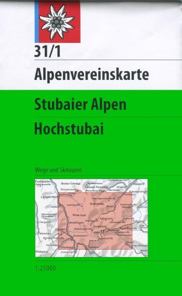 DAV Alpenvereinskarte 31/1 Stubaier Alpen, Hochstubai, Ski- und Wanderkarte 1:25.000
