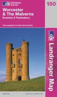Landranger 150 Worcester & The Malverns, Großbritannien Wanderkarte 1:50.000