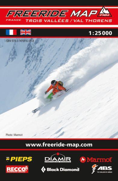 Freeride Map Trois Vallées / Val Thorens, Skitourenkarte 1:25.000
