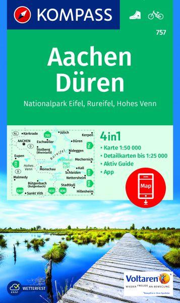 Kompass Karte 757, Aachen, Düren 1:50.000, Wandern, Rad fahren