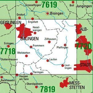 7719 BALINGEN topographische Karte 1:25.000 Baden-Württemberg, TK25