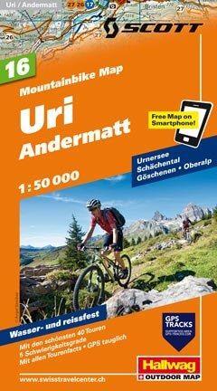 Hallwag Mountainbike Map Bl.16, Uri, Andermatt, 1:50.000, Wasser- und reißfest