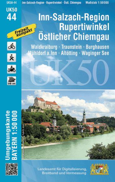 UK50-44 Inn-Salzach-Region - Rupertiwinkel Rad- und Wanderkarte 1:50.000 - Umgebungskarte Bayern