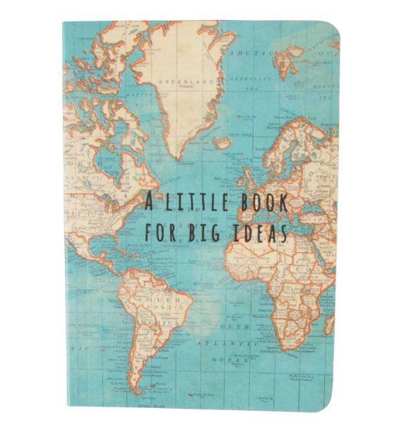 """Kleines Notizheft """"Vintage Map"""" im Landkarten-Design von Sass & Belle"""